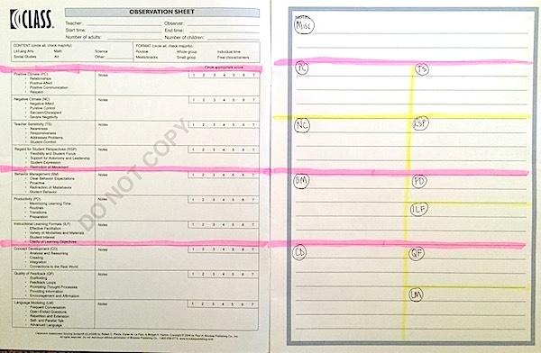 CLASS Observation Score Sheet