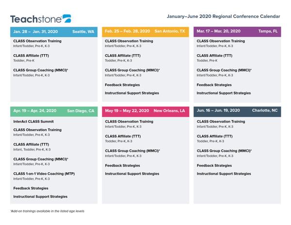 2020 Regional Conference Calendar