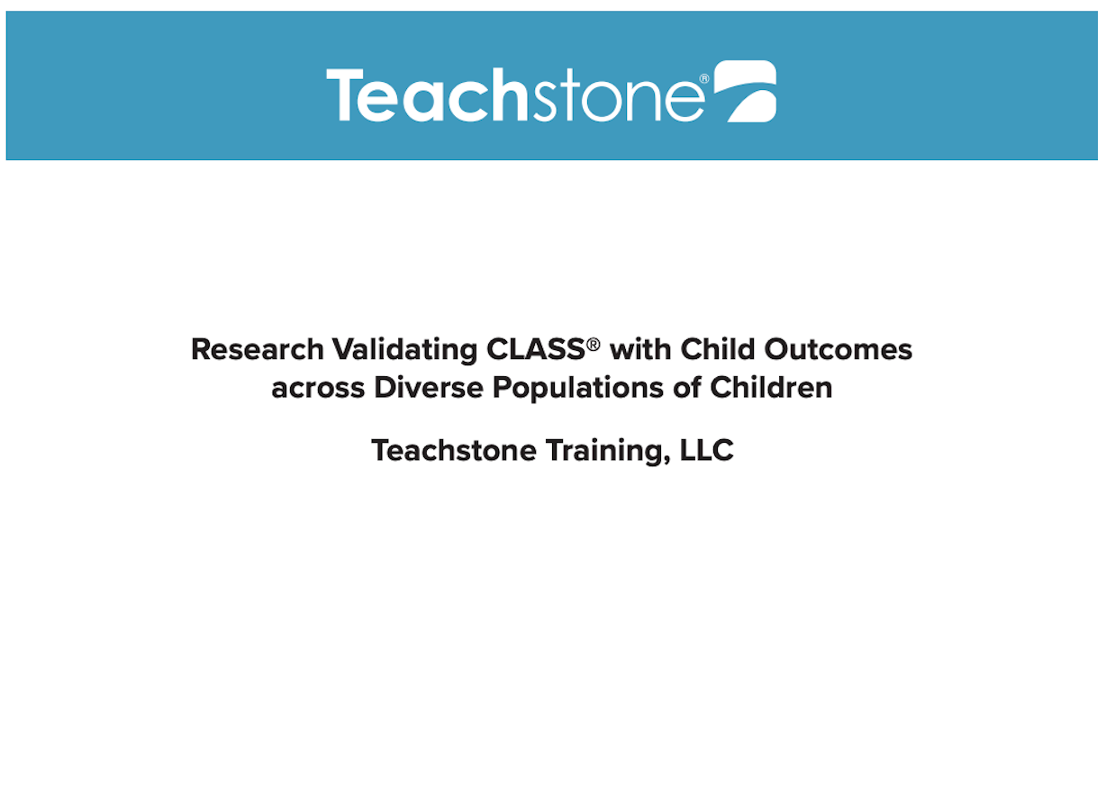 Research Validating CLASS with Child Outcomes across Diverse Populations of Children