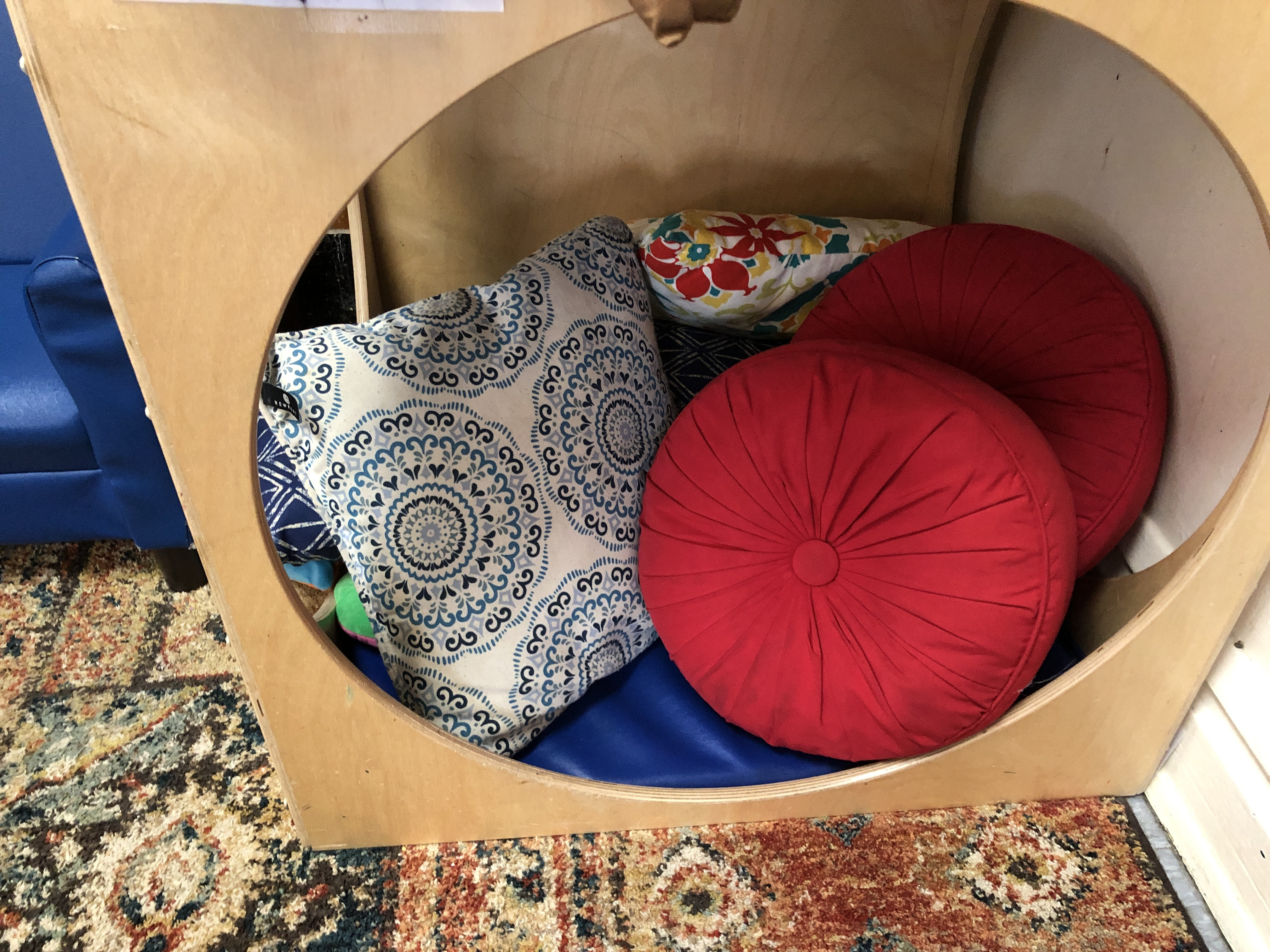 Using pillows in a small, private space in a classroom