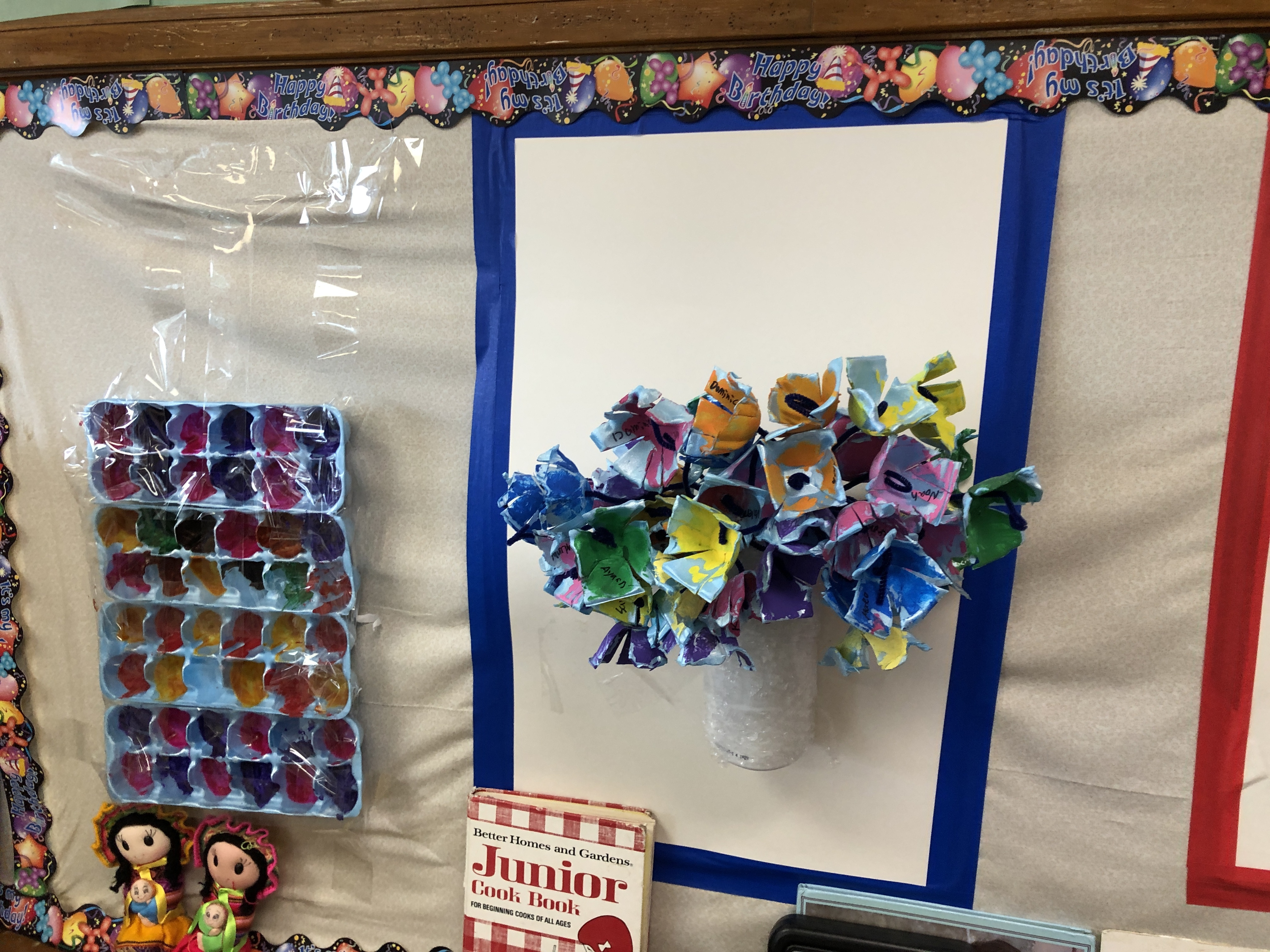 Child care classroom decor made of recycled egg cartons