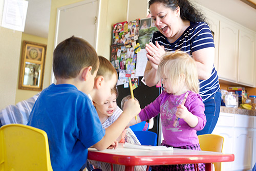 Looking at the differences between home-based childcare and a typical pre-k class.
